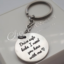 KR17 - Personalized Round Keyring, Stainless Steel