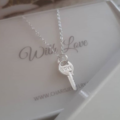 B52-C38244 - 925 Sterling Silver Love Key Necklace