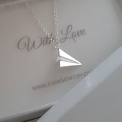 Sterling Silver paper plane necklace online jewellery shop