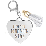 KR20 - Personalized Message Stainless Steel Heart Handbag, Pencil Bag, Make Up Bag Charm