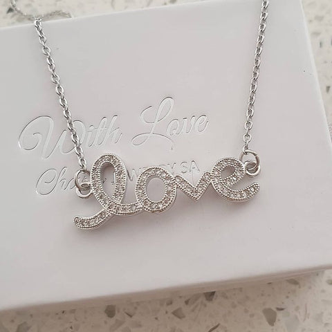 SS42-CB0111321 - Silver Stainless Steel CZ Love Necklace