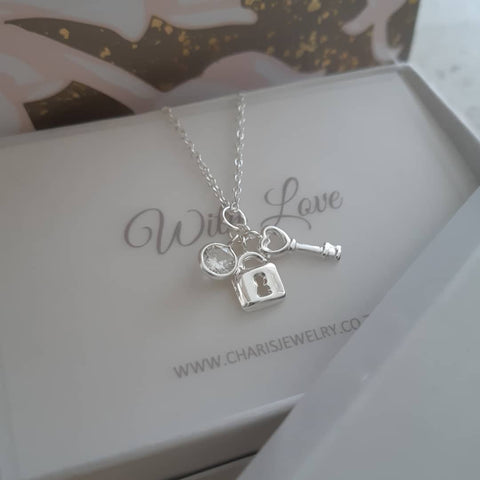 C66-C34901 - 925 Sterling Silver CZ Lock and Key Necklace