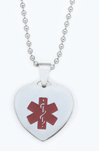 CSSMED P01 - Personalized Medical Alert Necklace, Bead or Rollo Chain Stainless Steel