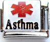 E-131 - Medical Alert Asthma Italian Charm Link, Stainless Steel