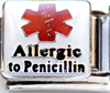 E-134 - Medical alert Allergic to Penicillin Italian Charm Link, Stainless Steel
