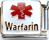 E-136 - Medical Alert Warfarin Italian Charm Link, Stainless Steel