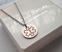 EJ117 - Medical Alert Necklace, Personalized at the back, Stainless Steel