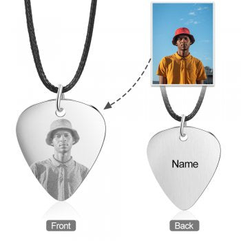 CNE105200 - Men's Personalized Photo Necklace, Stainless Steel