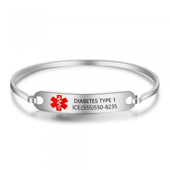 CBA102476 - Personalized Medical Alert Bangle Bracelet, Stainless Steel