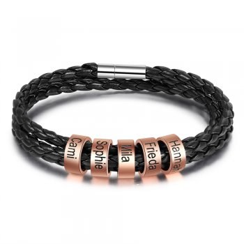 CBA102750 - Men's Personalized Bracelet Wrist Strap, Rose Gold Stainless Steel