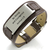 EJ87 - Personalized Men's Stainless Steel and Leather Strap Bracelet, Adjustable Size