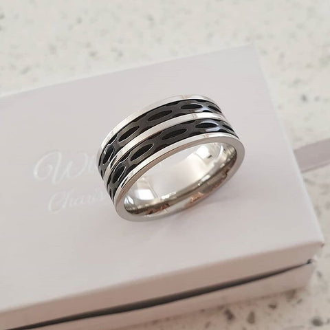 C1028-C22793 - Men's Ring, Stainless Steel Spinner band, Sizes 9-12