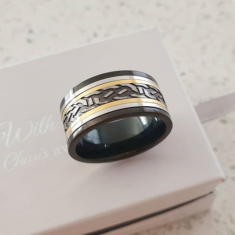 C1011-C22790 - Men's Stainless Steel Band Ring, Sizes 9-12