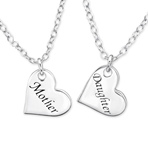 C211-C31051 - 925 Sterling Silver Mother Daughter Necklace Set