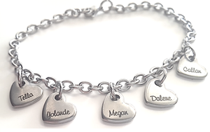 EJ11 - Personalized Mothers Bracelet with family names, Stainless Steel OUT OF STOCK