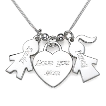 N110 - Sterling Siver Love You Mom Necklace with personalized Names