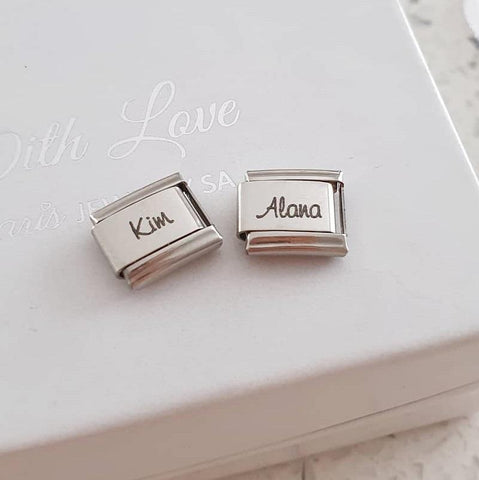 Personalized name italian charm link
