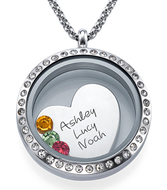 N1010 - Personalized Names & Birthstones Floating Locket Necklace, Stainless Steel