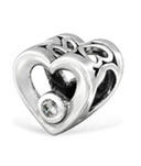 C124-C28920 - 925 Sterling Silver Heart European Bead Charm