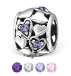 Sterling silver cz hearts european charm bead