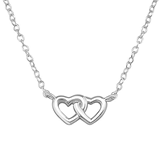 C780-C19681 - 925 Sterling Silver Dainty Double Heart Necklace