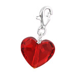 C720-C28992 - 925 Sterling Silver Light Siam Red Dangle Heart Charm
