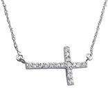 C718-C12197 - 925 Sterling Silver CZ Inline Medium 19mm Cross Necklace