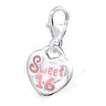 C793-C31057 - 925 Sterling Silver Sweet 16 Birthday Dangle Charm
