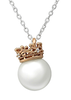 C708-C36228 - 925 Sterling Silver and Rose Gold Pearl Crown Necklace