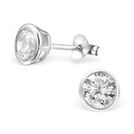 C594-C9066 - 925 Sterling Silver CZ Ear Stud Earrings 6mm