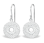 C714-C26625 - 925 Sterling Silver Patterned Dangle Earrings 15mm