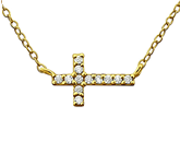 C744-C19868 - Gold Plated CZ Inline 12mm Cross Necklace