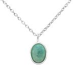 C739-C31098 - 925 Sterling Silver Geniune Amazonite Necklace