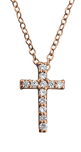 C727-C24286 - Rose Gold Plated CZ Cross Necklace