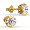 C593-C13091 - Gold Plated CZ Crystal Ear Stud Earrings 6mm