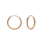 C713-C31508 - Rose Gold over Sterling Silver Round Hoop Earrings 14mm