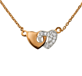 C787-C23691 - Rose Gold Plated CZ Double Heart Necklace