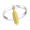 C1352-C33833 - 925 Sterling Silver Dangle Feather Ring