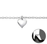 C725-C27634 - 925 Sterling Silver Dangle Heart Ankle Chain Anklet