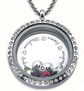 N1011 - Personalized Family Names & Birthstones Floating Locket Necklace