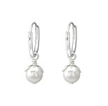 C715-C36256 - 925 Sterling Silver Hoop Earrings, Dangle Pearl
