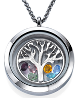 N1012 - Tree of Life Personalized Birthstones Floating Locket Necklace