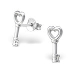 C719-C22689 - 925 Sterling Silver Key Ear Stud Earrings 5x12mm