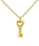 C364-C24281 - Gold Plated Sterling Silver Key Necklace