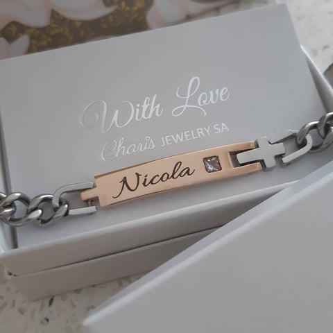 Personalized Name and Birthstone Cross Bracelet online store in SA
