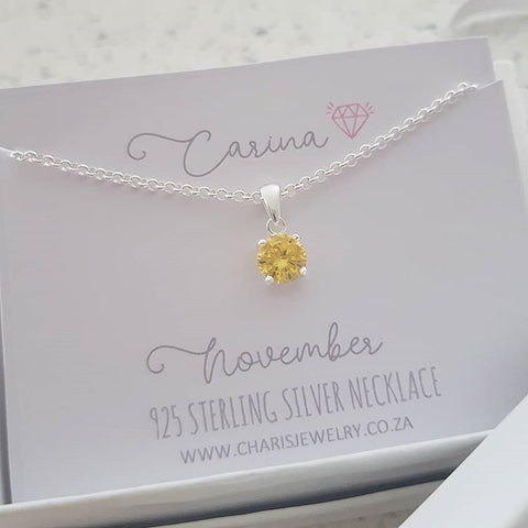 C33212 - 925 Sterling Silver November Birthstone Necklace,  Personalized Card
