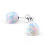 C203-C23614 - Stunning 925 Sterling Silver Fire and Snow Opal Earings