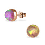 C455-C34489 - Rose Gold Bubble Gem Earings 7mm, Stainless Steel