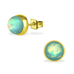 C459-C34488 - Gold Mint Opal Earings 7mm, Stainless Steel