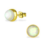 C454-C34488 - Gold Fire and Snow Opal Earings 7mm, Stainless Steel